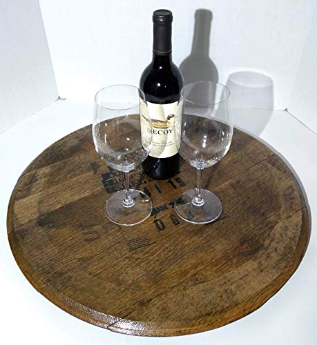- Bourbon Whiskey Barrel Lazy Susan - Made from an Authentic Bourbon Whiskey Barrel Top - Bourbon Whiskey Barrel Top Lid Head End Cap Lazy Susan
