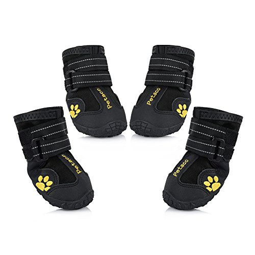 Petacc Dog Boots Water Resistant Dog Shoes for Large Dogs and Black Labrador 4 Pcs in Size 8 Black