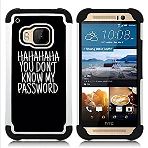 - haha password black text unlocked/ H??brido 3in1 Deluxe Impreso duro Soft Alto Impacto caja de la armadura Defender - SHIMIN CAO - For HTC ONE M9