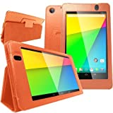Caseology Google Nexus 7 FHD 2nd Gen Case 2013 by ASUS - Slim Fit Leather Folio Multi-Angle View Case for Google New Nexus 2nd Generation 2013 7.0 Inch 4.3 Tablet (Orange)
