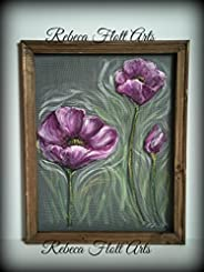 """Recycled old window screen hand painted """" Poppies"""", flowers, flower art, summer, spring, unique, han"""