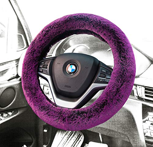 Car Steering Wheel Cover Winter Faux Wool Universal Auto Plush Steering Wheel Cover Protector (Plush Style B Fuchsia)