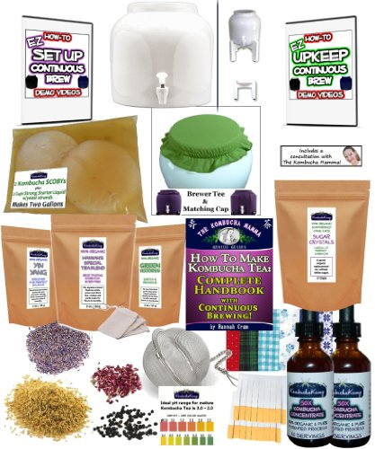 KKamp Continuous Brew Kombucha DELUXE PACKAGE - White w/ Stand + Tee/Cap Set by Kombucha Kamp