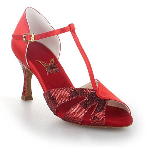 Red Super Shoes Sparkling 2 femmes Y20520 Sandals Flared Y20520 7'' Jia Latin Satin with Glitter 2 Women's Latin Sandales pour Jia Jia Heel 7 Jia Dance OS4qUvO