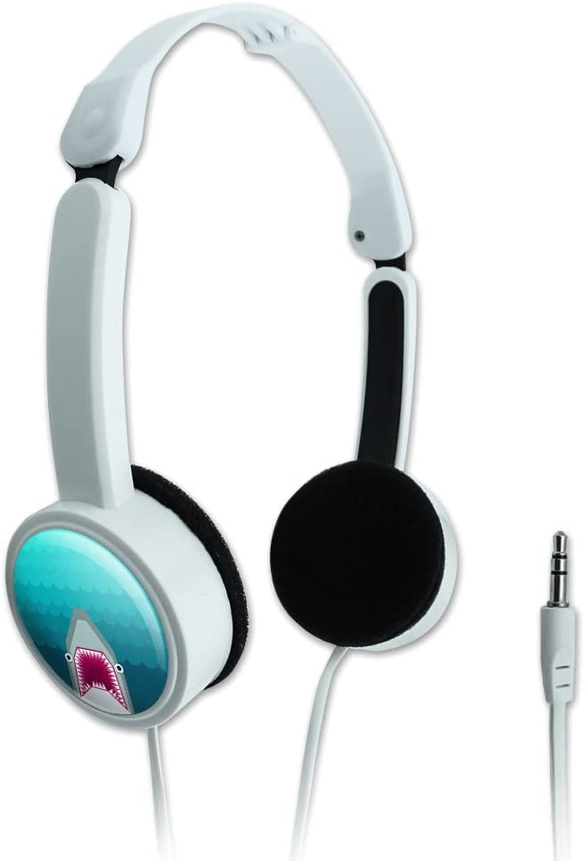 Novelty Travel Portable On-Ear Foldable Headphones Geometric Animals - Shark Blue
