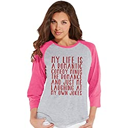 Custom Party Shop Women's Rom Com Funny Valentine's Day Raglan Shirt Large Pink