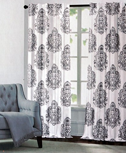 Nicole Miller Medallion Pair Of Curtains Ash Gray On Ivory