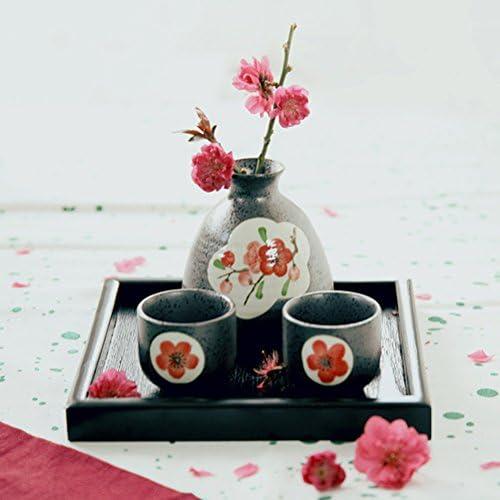 WINOMO Handgemachte Porzellan Sake serviert Set von japanischen Stil mit Blumenmuster Sake Set