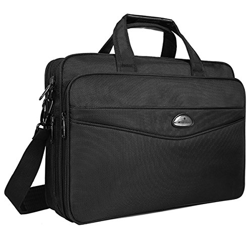 Briefcase 15.6 Inch Laptop Bag Laptop Messenger Bag, Stylish Nylon Multi-functional Organizer Lightweight Shoulder Bags for Men Women Fit for 15' 15.6 Inch Computer Notebook Macbook - Black