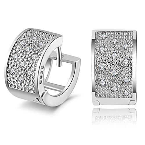 Fashion Women Crystal 925 Sterling Silver Ear Studs Hoop Earrings Jewelry ()