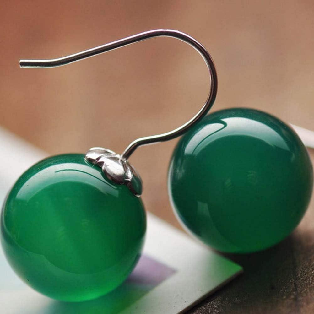 Erhuan Joyas Jade Angel 925 Pendientes colgantes de plata con perlas de ónix sintético,Verde