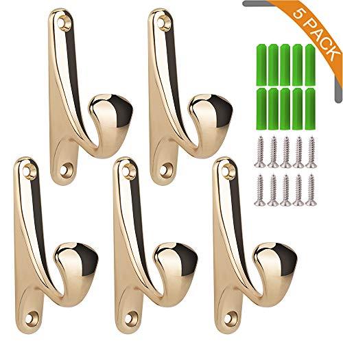 KERYUM(5-Pack) Heavy Mounted Single Wall Hooks, Backpack Hooks, Entryway Hooks,Towels Hooks, Patios Hooks,Coat Hooks (Matching 304 Stainless Steel Screws & Plastic Anchors Included) (Golden)