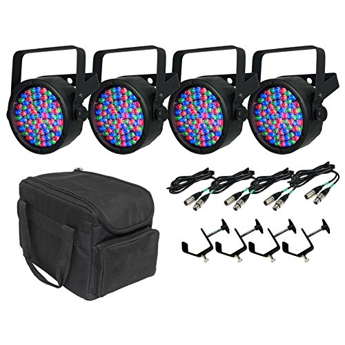 10' C-clamp (Chauvet DJ SlimPar 38 LED RGB 4 Lights + Travel Bag + 10' DMX Cables + C-Clamps)