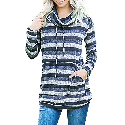 TWGONE Womens Striped Pullover Sweater Cowl Neck Long Sleeve Pocket Drawstring Top Sweatshirt(US-6/CN-M,Blue)