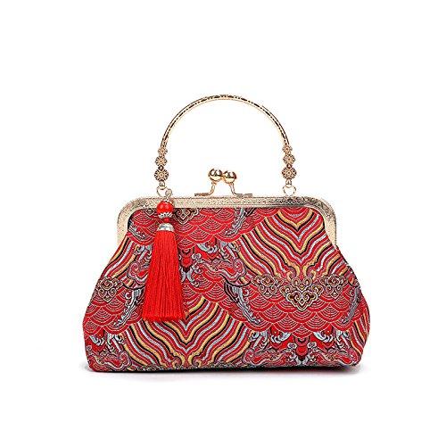 AASSDDFF NUEVA Moda salvaje Frontal de lujo bolsos de las mujeres bolsa de diseñador de alta calidad de Seda bolsas crossbody de hombro para mujer bolsa saco, AMARILLO ROJO