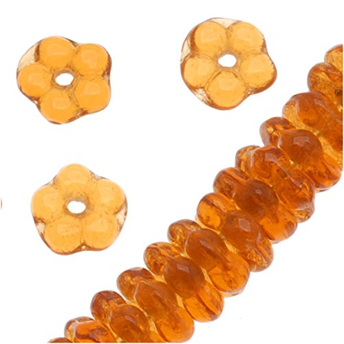 Czech Glass Daisy Flower Rondelle 5mm Amber Topaz (100 Beads)