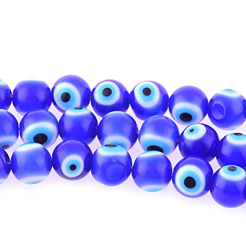 Glass Evil Eye Necklace (6mm 200 Pcs Blue Evil Eye Glass Beads of Jewelry Findings for Bracelet ,Necklace or Others)