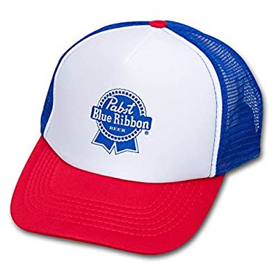 Pabst Blue Ribbon PBR Trucker Hat Red, And Blue