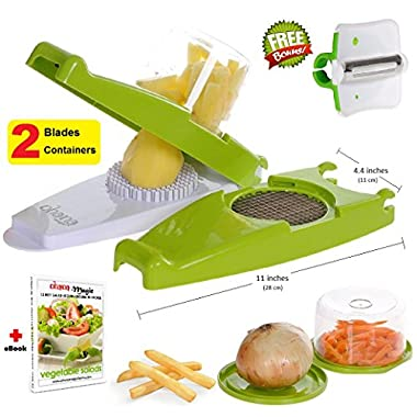 French Fry Cutter Onion Chopper Vegetable Slicer Nicer Dicer, 2 Storage Containers + FREE Peeler - by Ohana Magic