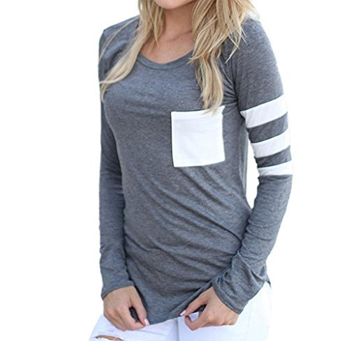 Gillberry Gillberry Womens Cotton  Long Sleeve Round Neck Splice Shirt Blouse Tops T Shirt (S, Gray)