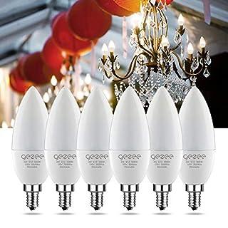 GEZEE Dimmable LED Candelabra Light Bulbs, E12 Base, 60W Equivalent, 620 Lumens, Daylight White 5000K, B11, Chandelier Bulb, (Pack of 6)