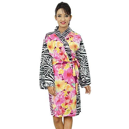 Dama de regalo abrigo del balneario Preparándose ropas kimono de algodón floral Crossover Robe Amarillo