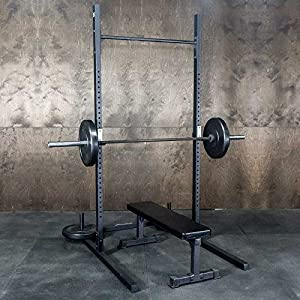 Squat Rack + Pullup Bar by Fringe Sport / 5′ x 4′ Footprint – 1,000lb Weight Capacity/Strength & Conditioning Exercises