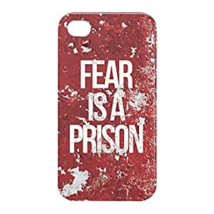 Loud Universe Apple iPhone 4/4s 3D Wrap Around Fear is a Prison Print Cover - Red/White