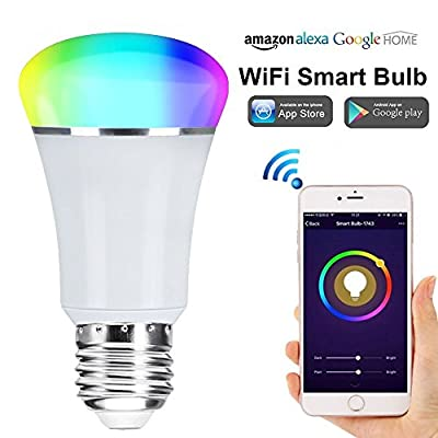 WiFi Smart Bulb, Weton Multicolored Smart LED Light Bulbs Work with Amazon Alexa Google Home, No Hub Required