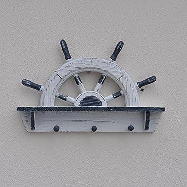 Wooden Half Ship Wheel Shelf Hooks