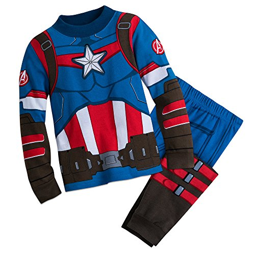 Marvel Captain America Costume PJ PALS for Boys Size 5 Multi