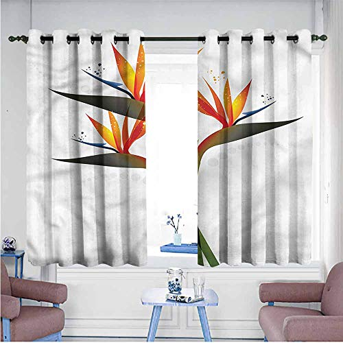 Mdxizc Soft Curtain Flower Ombre Tropical Garden Durable W63 xL45 Suitable for Bedroom,Living,Room,Study, - Ombre Yarn Sport Satin