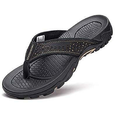 GUBARUN Mens Sport Flip Flops Comfort Casual Thong Sandals Outdoor Black Size: 7