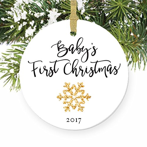 Baby's First Christmas Ornament 2017, Gender Neutral Porcelain Ornament
