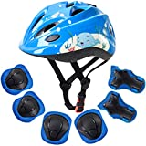 ArgoHome Kid's Protective Gear Set Toddler Helmet Kids Knee Pads for 3-8 Years Toddler Youth Bike Skateboard Helmet Knee Elbow Wrist Pads for Roller Bicycle Bike Skateboard -Blue