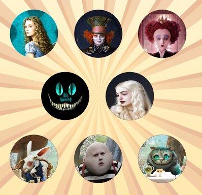 Alice in Wonderland Movie Set of 8 -