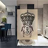 Window Films Privacy Glass Sticker Illustration Shield Design Art with Crest Badge Medallion Angel Royal Static Heat Control Anti UV 22.8In by 35.4In,Cream Maroon Sepia