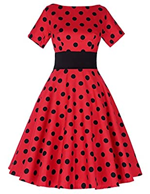 Belle Poque Women Vintage Dress Polka Dot Short Sleeve Cocktail Prom Dress BP211