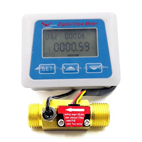 YalinGE Digital LCD Display Water Flow Sensor Meter flowmeter totameter Temperature time Record with G1/2 Flow Sensor