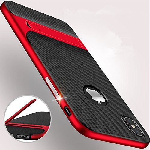 iPhone X/XS Case with Kickstand, EMEYGROUP Shockproof Stand Cover PC+TPU Premium Carbon Fiber Dual Layer Hybrid Shock Proof Ultra Thin Slim Fit Built-in Holder Protective Case for iPhone 10S 10 (red)