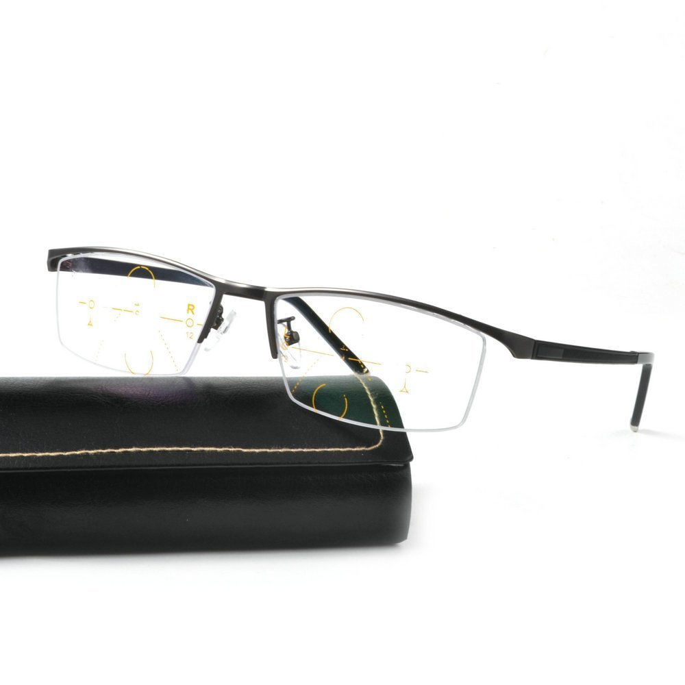 Fashion Retro Metal Half Rim Progressive Multifocal Rectangular Men Reading Glasses (Grey, 1.0)