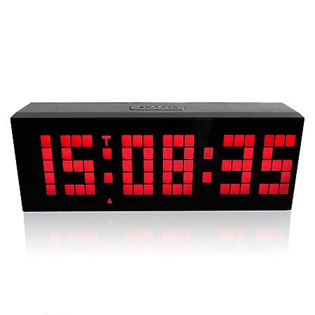HYwot Reloj de Pared LED Despertador de Escritorio de Mesa Digital ...