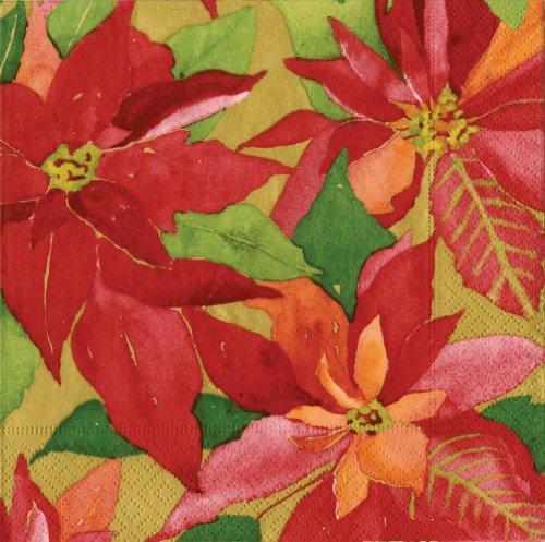 - Entertaining with Caspari Poinsettia Painting Paper Luncheon Napkins, Gold, Pack of 20