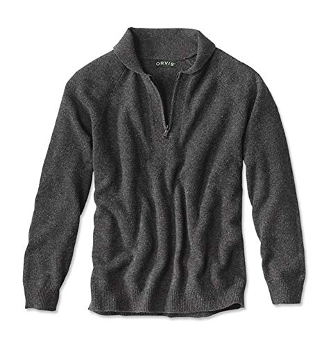 - Orvis Men's Donegal Shawl Quarter-Zip Sweater, Large Black