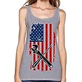COSJIg8 Womens Mechanic USA Flag Sexy Cute T-Shirt Summer Blank Tank Top