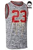 JC DISTRO Boys Hipster Jordan 23 Foil Printing W/Splatter Patterns Tank Top HGREY Medium