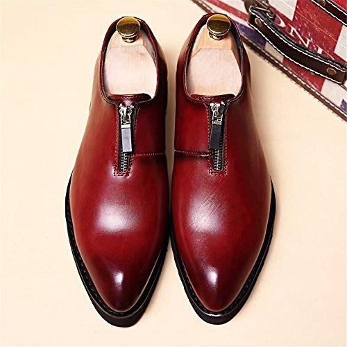 Scarpe unita Rosso 2018 da stringate basse pelle Scarpe Tacco dimensione shoes Xujw punta oxford Nero uomo 39EU a piatta in tinta Colore aw5qBEx1xy
