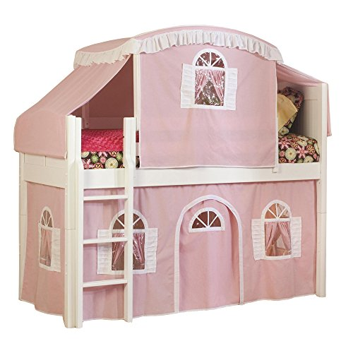 Bolton Furniture 9811500LT3PW Cottage Low Loft Bed with Pink/White Top Tent and Bottom Curtain Playhouse, White