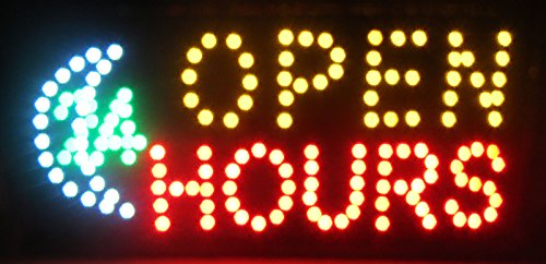 LED Flashing Motion OPEN 24-hour Hours SIGN neon business Light +On/Off ()