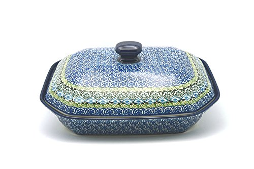 Polish Pottery Covered Casserole (Polish Pottery Baker - Rectangular Covered - Large - Tranquility)